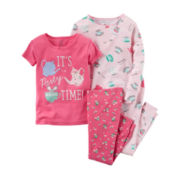 Carter's® 4-pc. Cotton Pajama Set - Toddler Girls 2t-5t