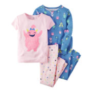 Carter's® Girl Monster 4-pc. Short-Sleeve Pajama Set - Toddler Girls 2t-5t
