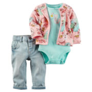 Carter's® 3-pc. Floral Bodysuit Set - Baby Girls newborn-24m