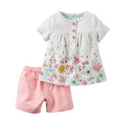 Carter's® Girl Floral 2-pc. Cap-Sleeve Shorts Set - Baby Girls newborn-24m