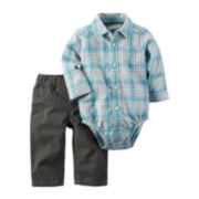 Carter's® 2-pc. Blue Plaid Shirt & Pants Set - Baby Boys newborn-24m