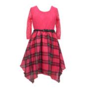 Bonnie Jean® Plaid 3/4-Sleeve Hankie Skater Dress - Girls Plus