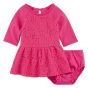 Arizona 3/4-Sleeve Polar Bear Terry Dress - Baby Girls 3m-24m