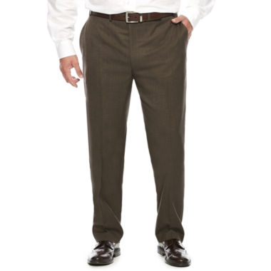 jcpenney.com | Collection by Michael Strahan Brown Sharkskin Flat-Front Dress Pants - Big & Tall