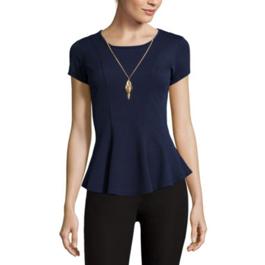 jcpenney.com | by&by Short-Sleeve Textured Knit Peplum Shirt