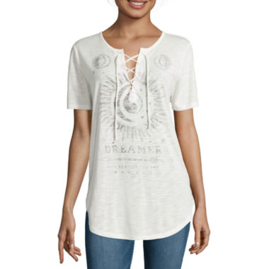 jcpenney.com | Hybrid® Short-Sleeve Lace-Up Tee