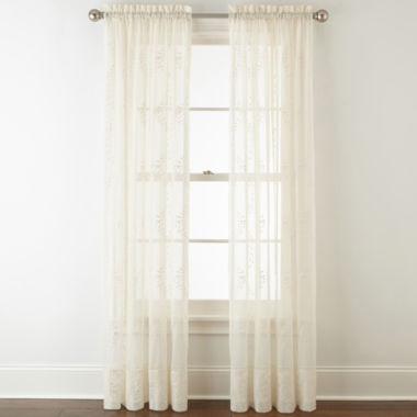 jcpenney.com | Liz Claiborne® Lisette Ogee Embroidery Sheer Rod-Pocket Curtain Panel