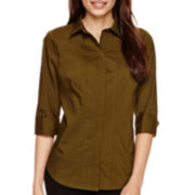 Worthington® 3/4-Sleeve Button-Front Oxford Shirt - Petite
