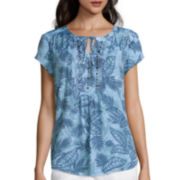 Liz Claiborne® Short-Sleeve Embellished Pintuck Peasant Top