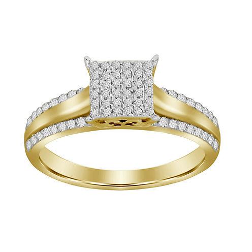 Womens 1/4 CT. T.W. Genuine White Diamond 10K Gold Cocktail Ring
