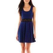 Bailey Blue Short-Sleeve Cropped Tape Yarn Sweater