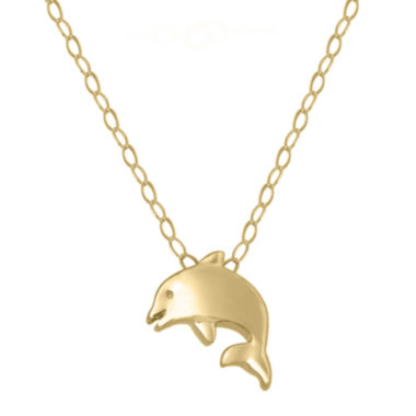 jcpenney.com | Teeny Tiny® 14K Yellow Gold Petite Dolphin Pendant Necklace