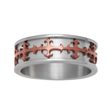 jcpenney.com | Mens Stainless Steel & Brown IP Cross Ring