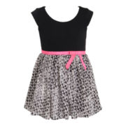 Pinky Chiffon Heart Print Dress - Girls 2t-6