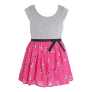 Pinky Chiffon Dog Print Dress - Girls 2t-6