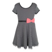Pinky Dotted Skater Dress - Girls 2t-6