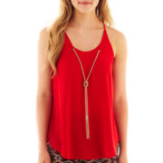by&by Sleeveless Crepe Necklace Top