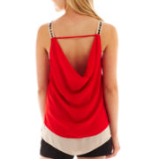 XOXO® Embellished Drape-Back Tank Top