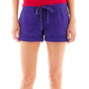 jcp™ Cuffed Poplin Drawstring Shorts - Petite