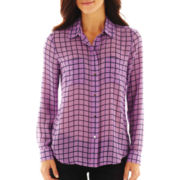 Liz Claiborne Long-Sleeve Button-Front Shirt