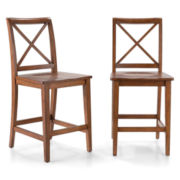 Dining Possibilities Set of 2 Counter-Height X-Back Chairs
