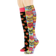 2-pk. Floral/Sugar Skull Knee-High Socks