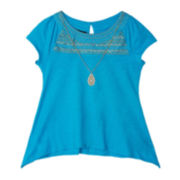 by&by Girl Embroidered Tee and Necklace - Girls 7-16