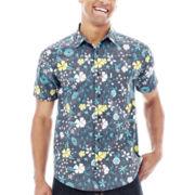 Short-Sleeve Retro Floral Woven Shirt