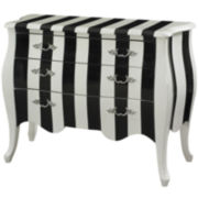 Black and White Stripe Storage Chest
