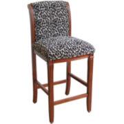 Leopard Print Upholstered Barstool