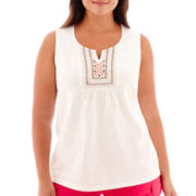 St. John's Bay® Sleeveless Beaded and Embroidered Knit Top - Plus
