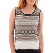 Liz Claiborne® Piped Print Tank Top