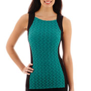 Liz Claiborne® Sleeveless Jacquard Knit Squareneck Tank Top