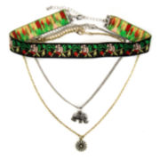 Decree® Embroidered Elephant Choker Necklace