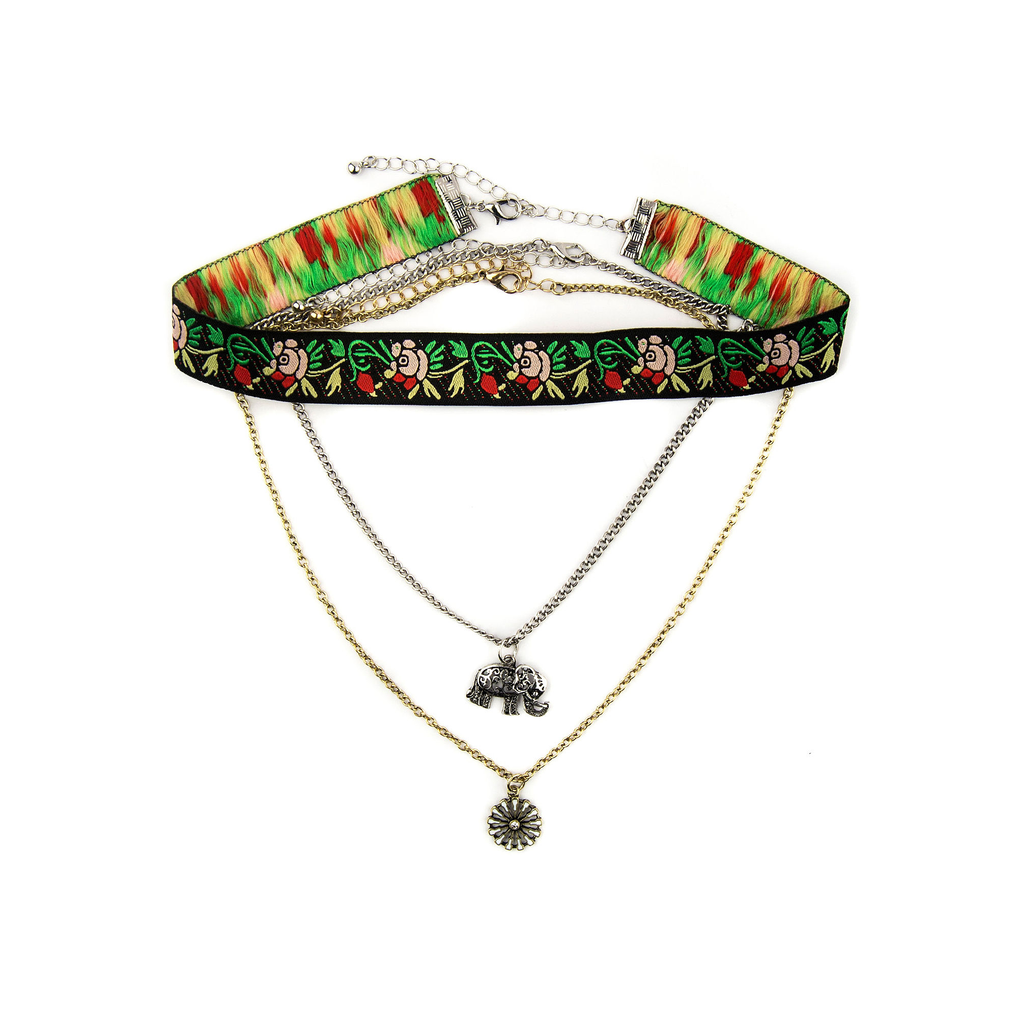 Decree Embroidered Elephant Choker Necklace