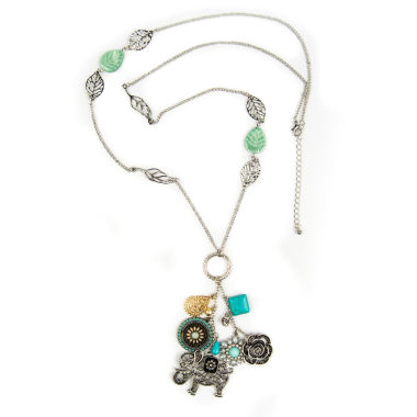 jcpenney.com | Decree® Clear Glass Two-Tone Elephant Charm Pendant Necklace