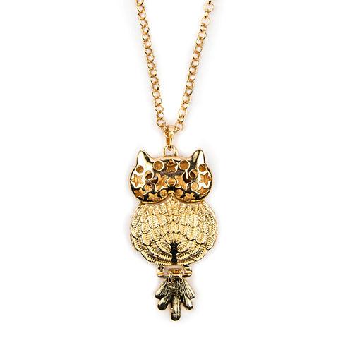 Decree® Glass Stone Gold-Tone Owl Pendant Necklace