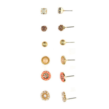 jcpenney.com | Decree® 6-pr. Multicolor Stone Two-Tone Earring Set