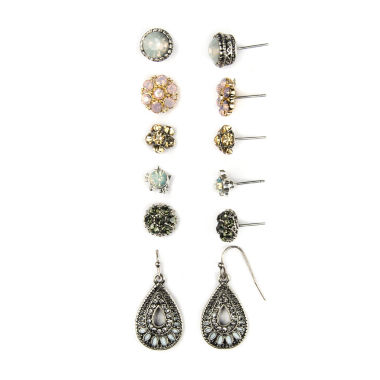jcpenney.com | Decree® 3-pr. Glass Stone Tri-Tone Stud and Teardrop Earring Set