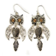 Decree® Glass Stone Silver-Tone Owl Drop Earrings