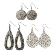 Decree® 3-pc. Silver-Tone Disc & Teardrop Earring Set