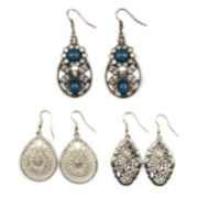 Decree® 3-pc. Silver-Tone Open Work Metal Drop Earring Set