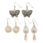 Decree® 3-pc. Silver-Tone Butterfly, Disc & Teardrop Earring Set