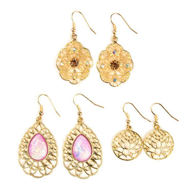 jcpenney.com | Decree® 3-pc. Gold-Tone Open Work Metal Drop Earring Set