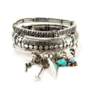 Decree® 3-pc. Silver-Tone Arrows, Gun & Sun Stretch Bracelet Set