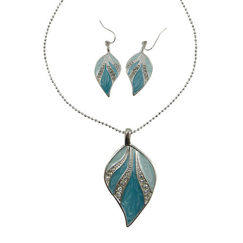 Blue & Green Enamel Leaf Pendant Necklace & Earring Set