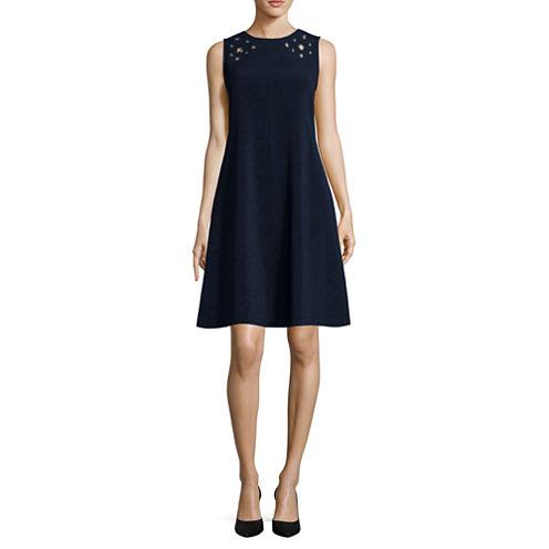 Studio 1® Sleeveless Grommet Trapeze Shift Dress