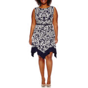 Tiana B. Sleeveless Belted Handkerchief Fit-and-Flare Dress - Plus