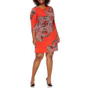 Tiana B. 3/4-Sleeve Paisley Print Keyhole Shift Dress - Plus