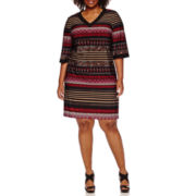 Studio 1 Elbow Sleeve Placed Stripe Sheath Dress – Plus